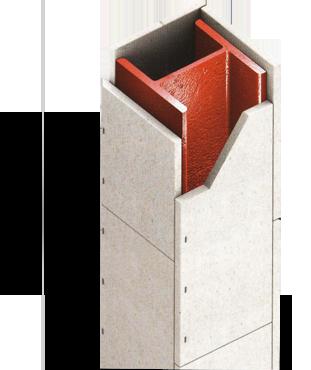 Brandex platen romdom een stalen kolom